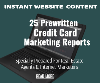 See 25 Credit Card Article Reports with Private Label Rights. Perfect for website content, blogging, email marketing and other lead generation campaigns.